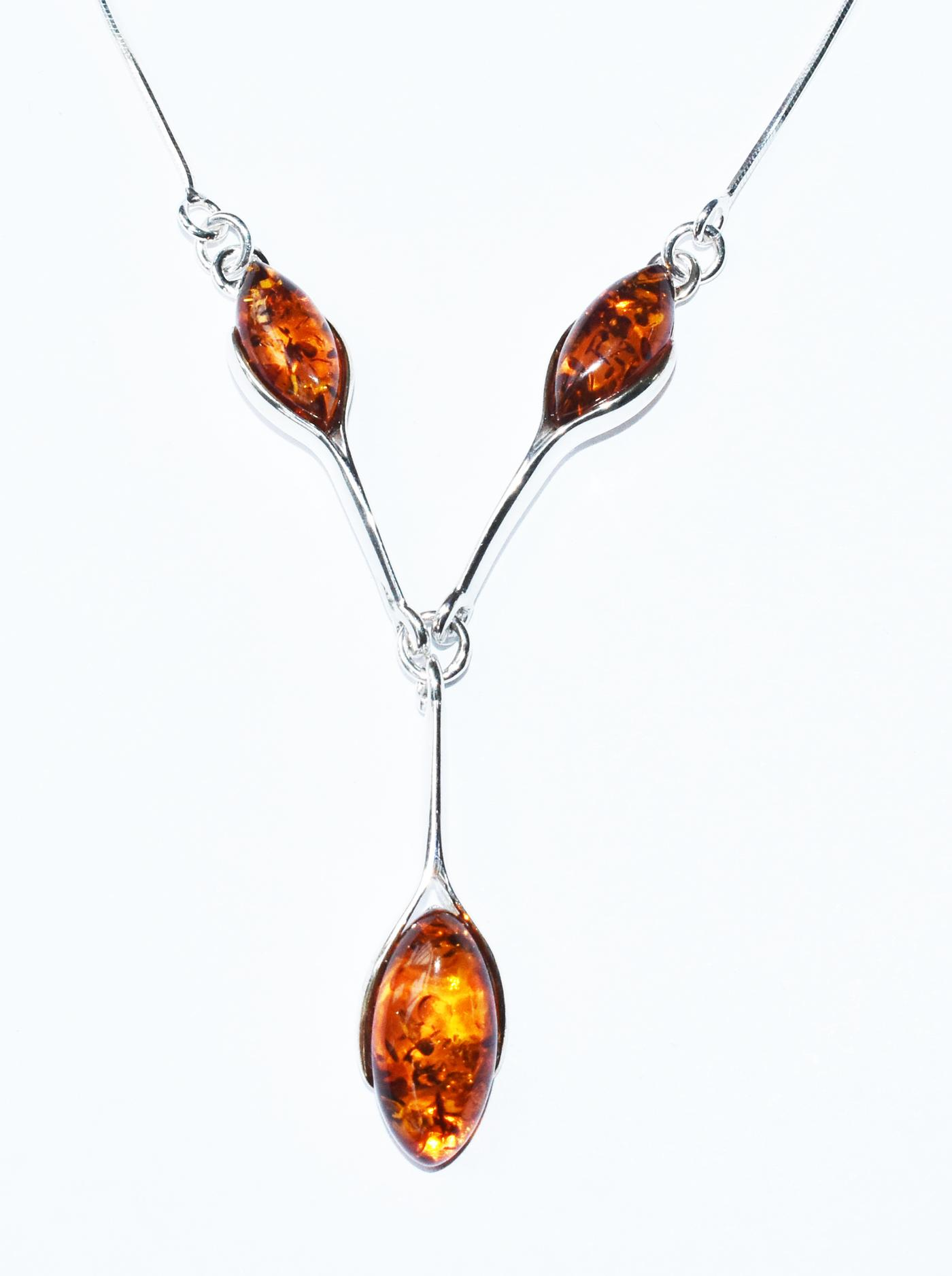 Three stone Baltic amber and silver necklace. (N-04)
