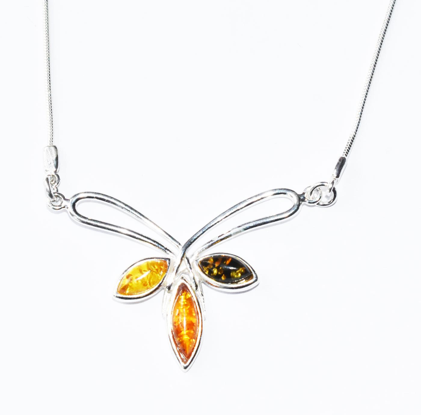 Tricolour Baltic amber necklace set in sterling silver. (N-05)