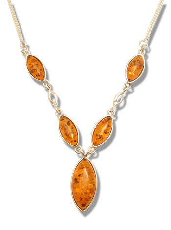 Multi stone baltic amber and silver necklace.  (N-525)