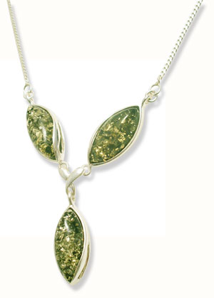 Green amber necklace set sterling silver  ( N-625)