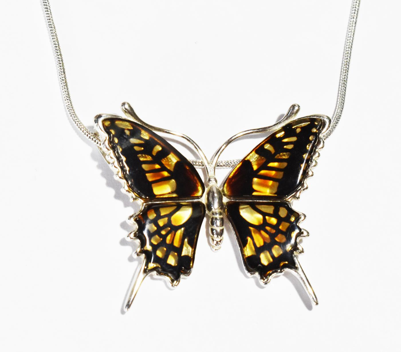 Swallowtail butterfly necklace in multicolour amber.  (Nam-02)