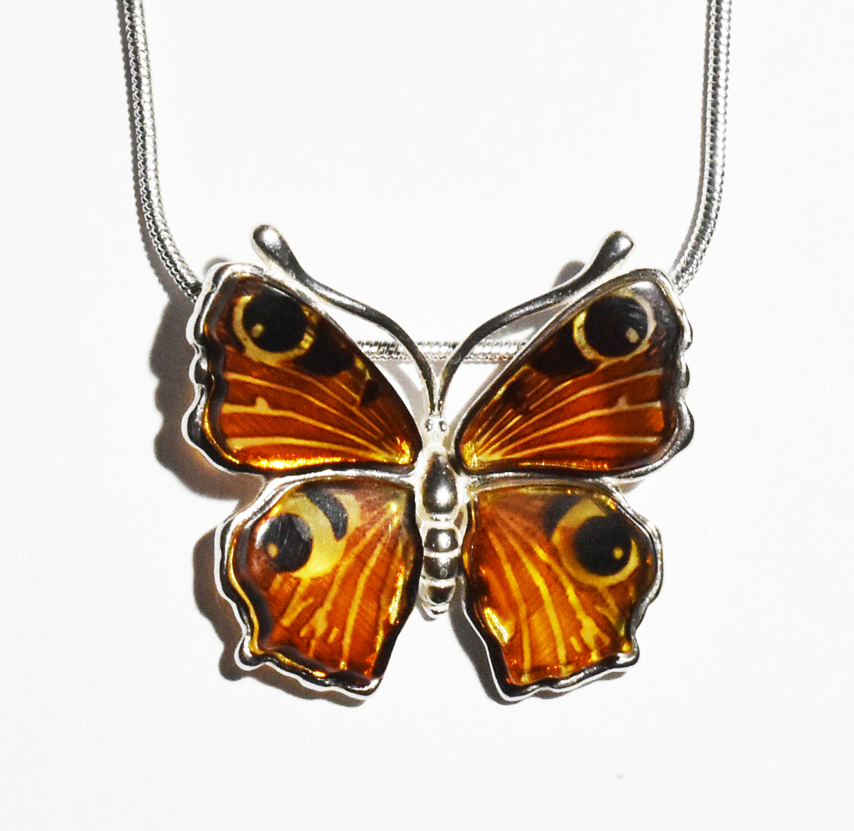Gorgeous Peacock butterfly necklace in multicolour amber.  (Nam-03)