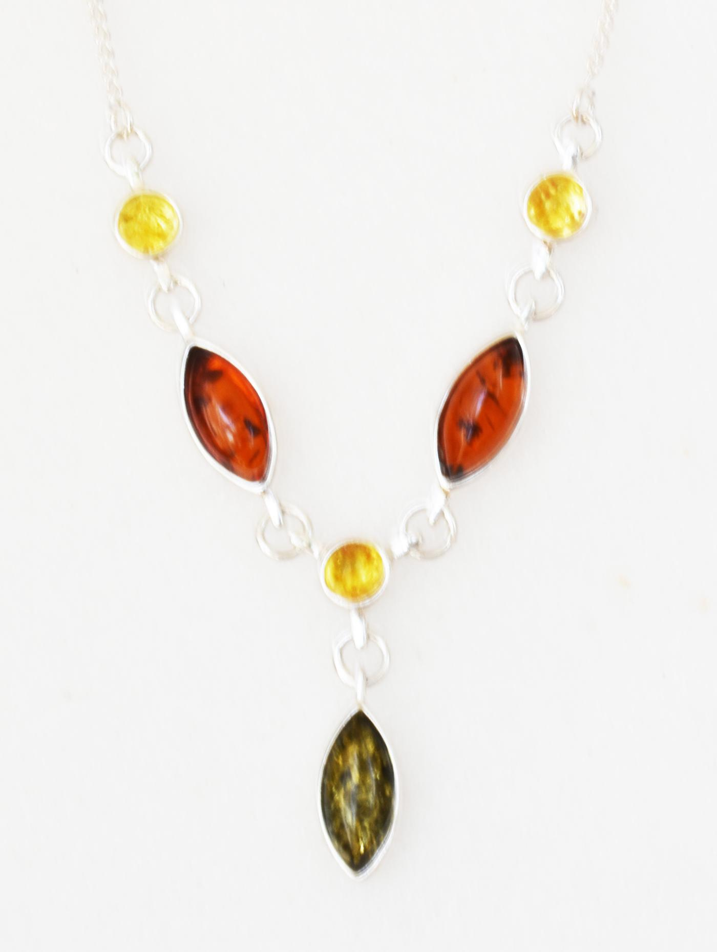 Three coloured amber necklace set in sterling silver.