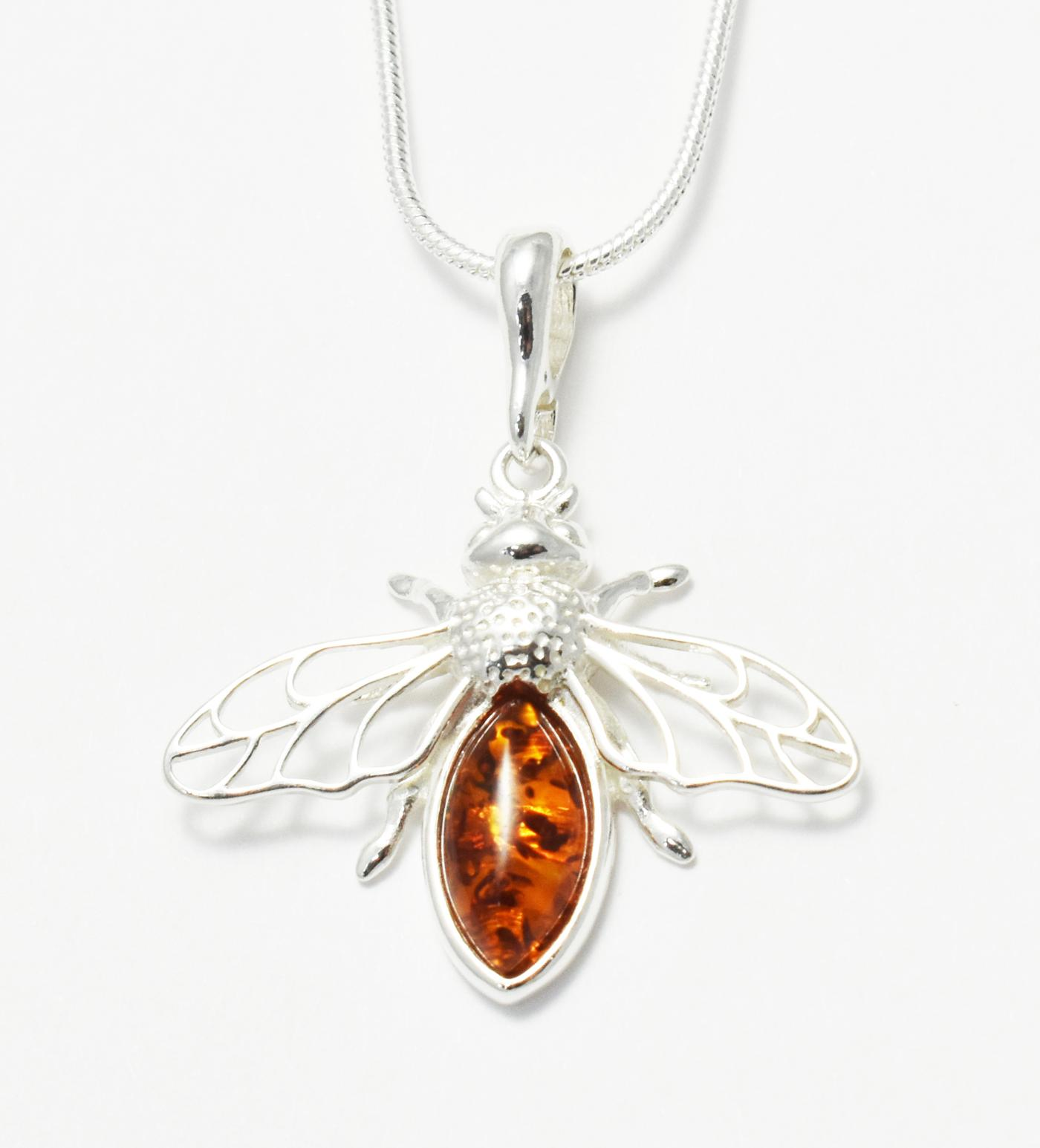 Filigree amber and silver bee pendant