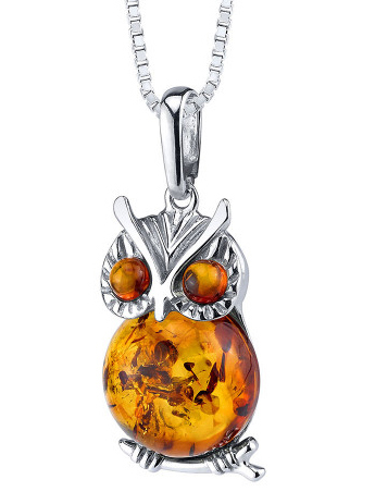 Gorgeous owl pendant hand made from amber and silver.  (P-03)