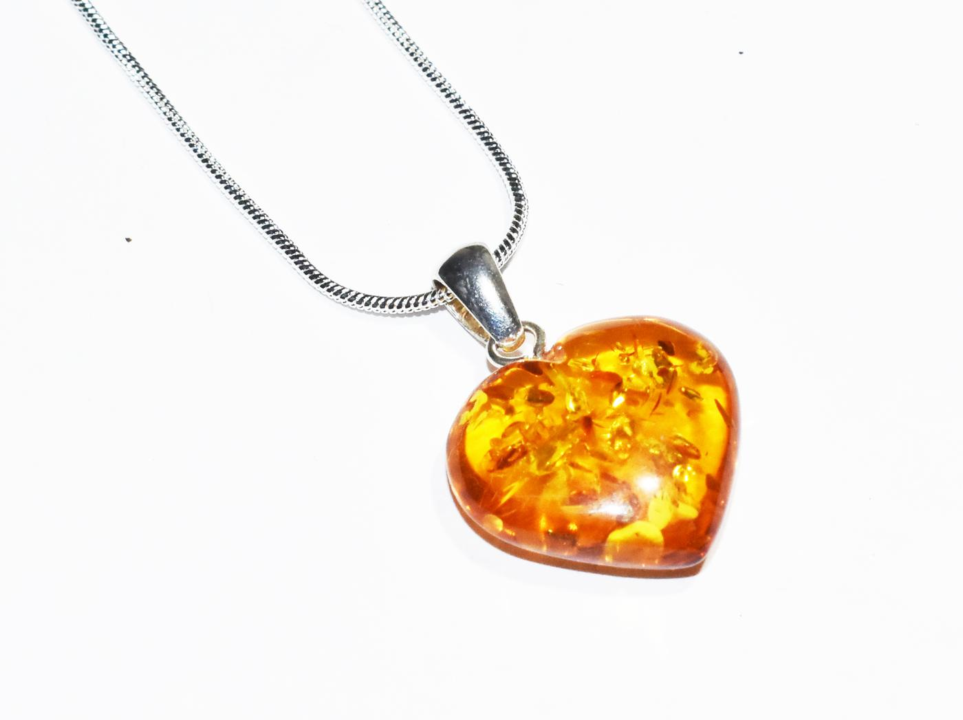 Fabulous Baltic Amber Heart Pendant.  P-05