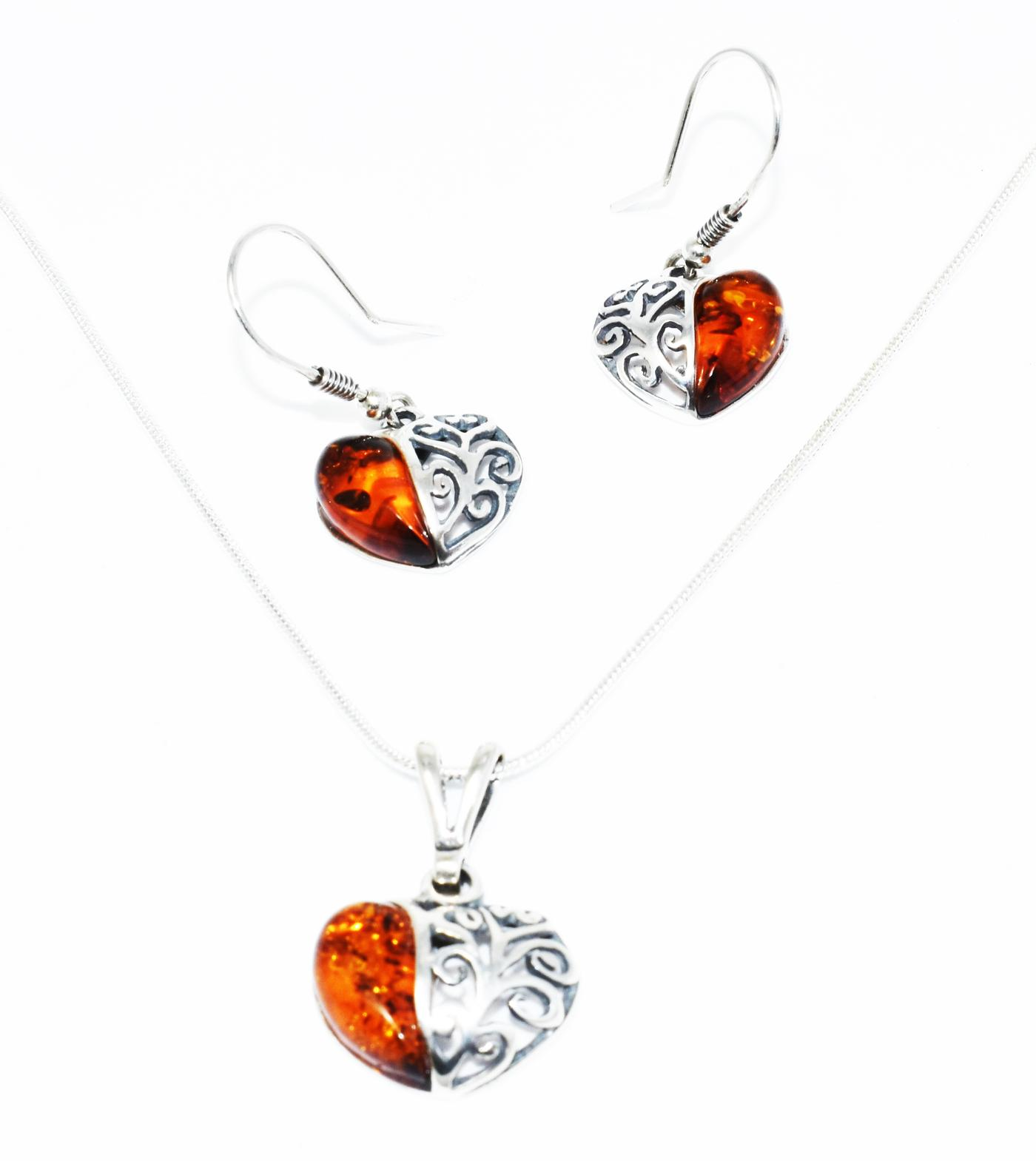 Baltic Amber Heart Pendant and pair of earrings with a lovely filigree setting. (P-07B)