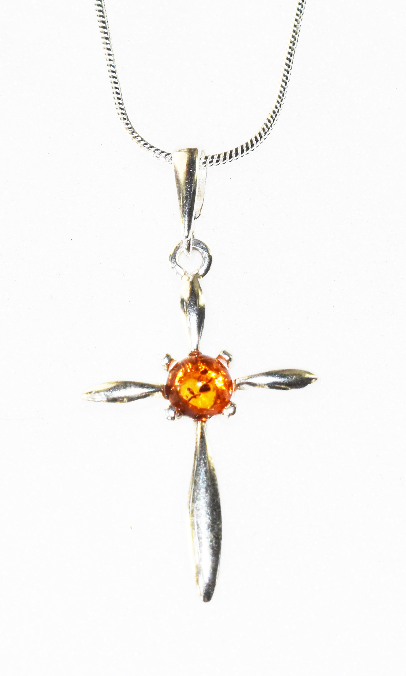 Classic cross and amber with chain. (P-325)