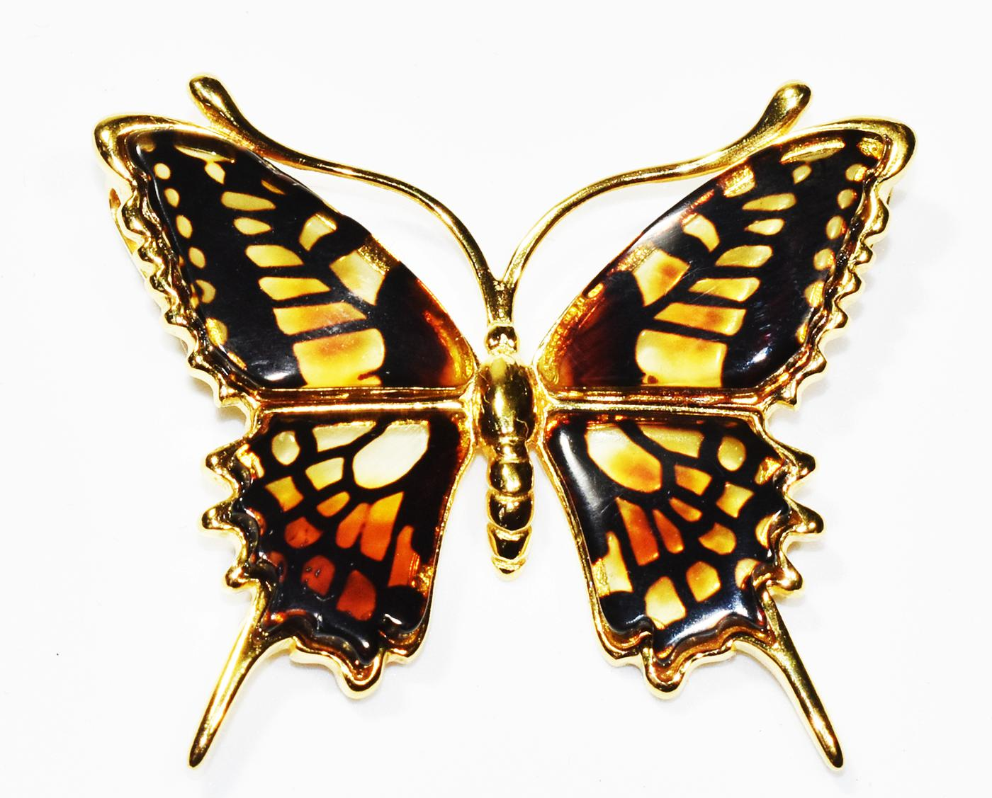Amazing Swallowtail Butterfly necklace in multicolour amber.