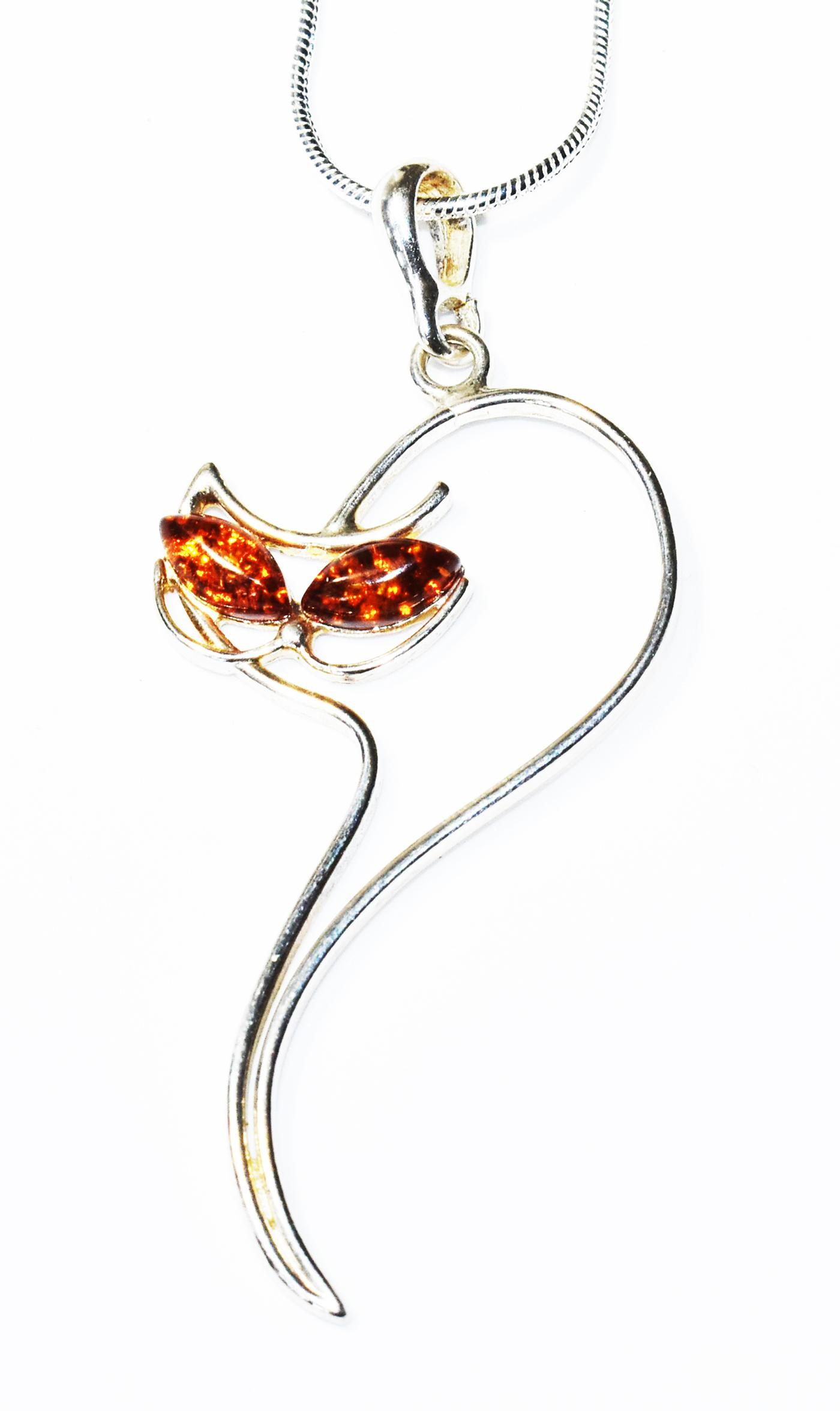 Classic  Baltic Amber Slinky Cat Pendant - 59mm long