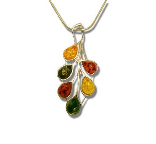 Multicolour teardrop amber pendant