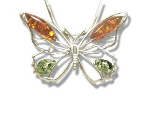 Cogniac and green Amber pendant