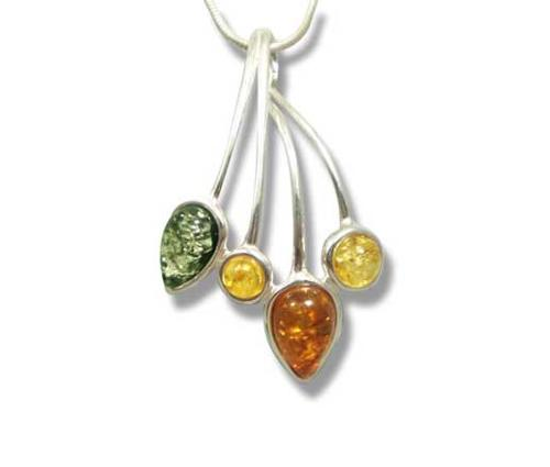 Multcolour amber teardrop pendant- 32x22mm