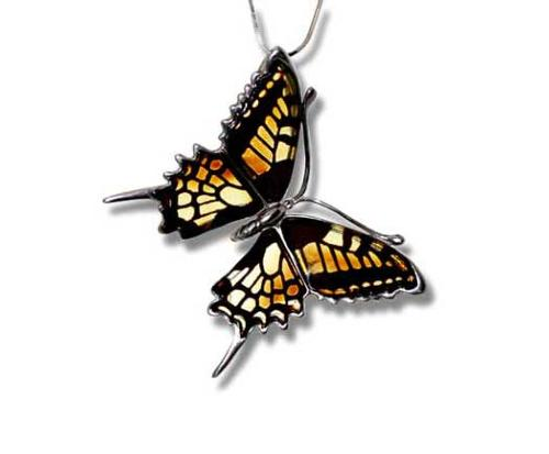 Multicolour amber butterfly pendant- H38 x W35mm