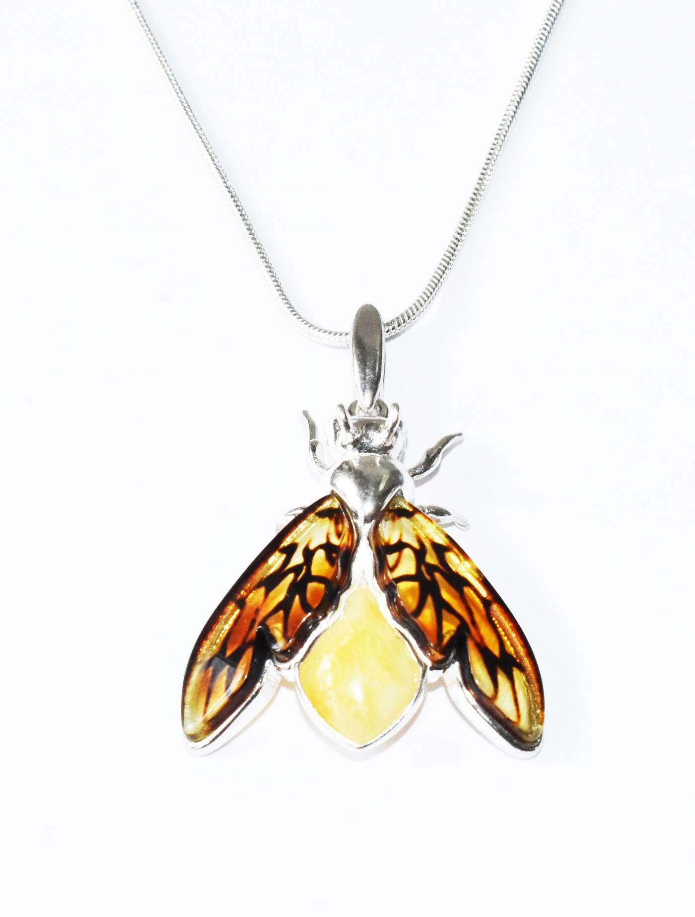 Unique multicolour amber and silver bee pendant.  (Pmx-05)