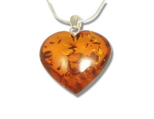 Large amber heart pendant- 35x32mm