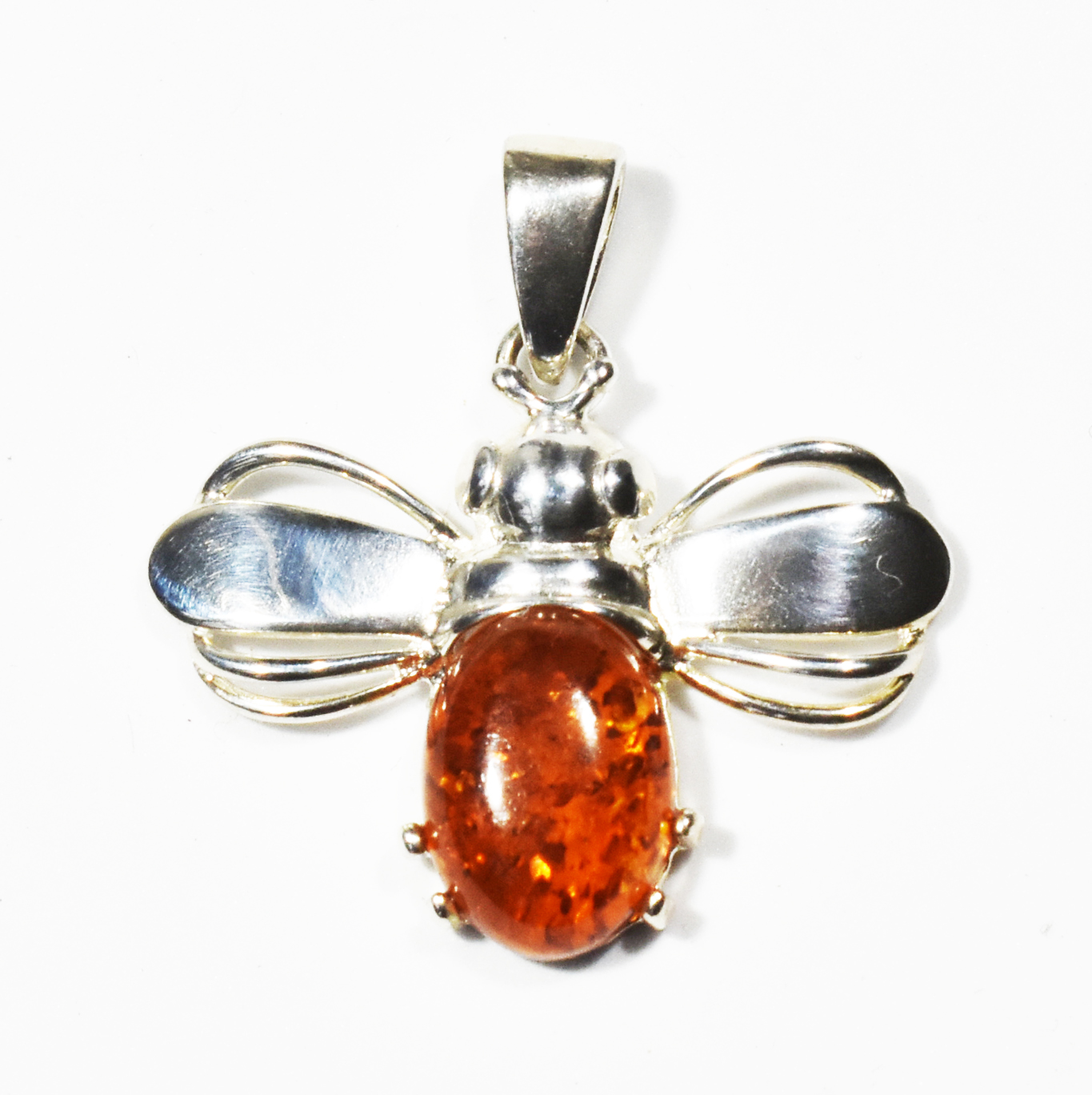Hand made amber bee pendant- 36x32mm
