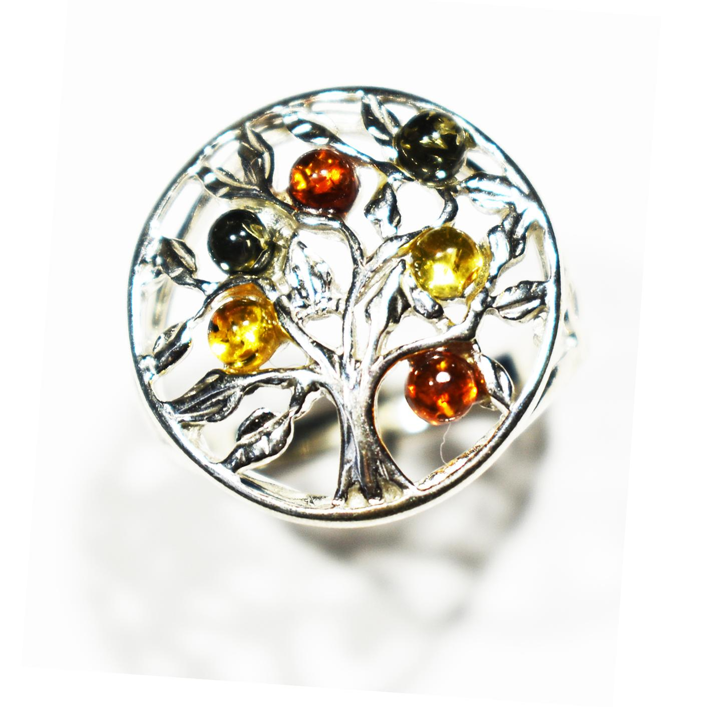 Tree of life tricolour amber ring set in sterling silver.  Diameter 20mm