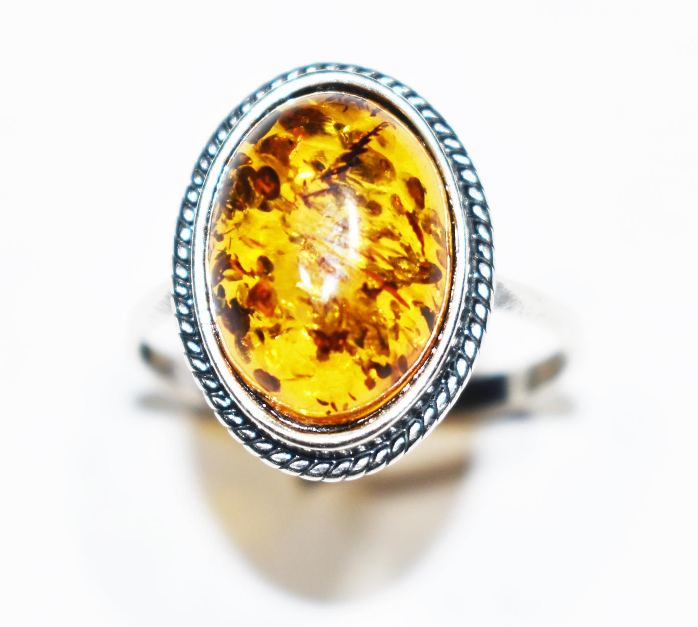 Traditional Baltic amber ring. Stone size 12x16mm