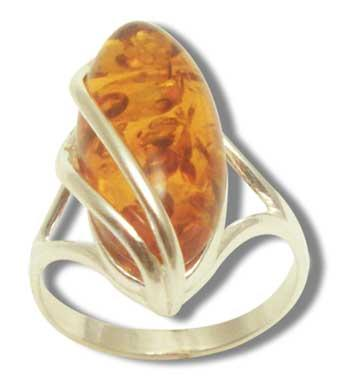 Cogniac amber ring in silver cage- 20x10
