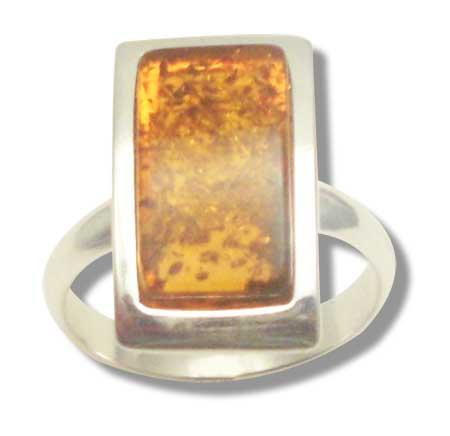 Classic rectangulae amber and silver ring- 16x8mm
