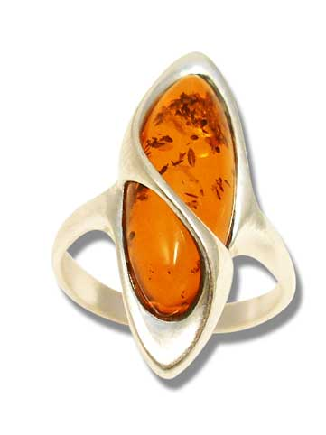 Real amber ring with a silver twist- 20x8mm  (R-850)