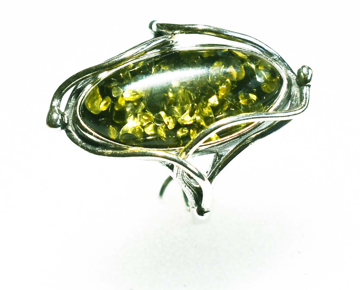 Hand crafted green amber and silver ring- 20x12mm
