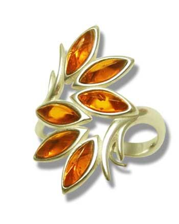Six stone maecesit amber and silver ring- 28x16mm
