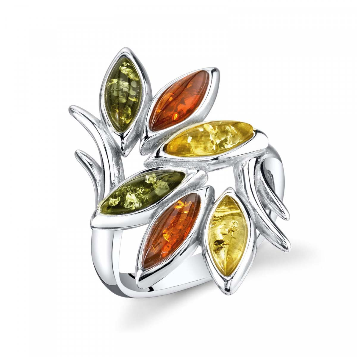 Baltic amber ring six multicolour marcasite stone set in sterling silver.