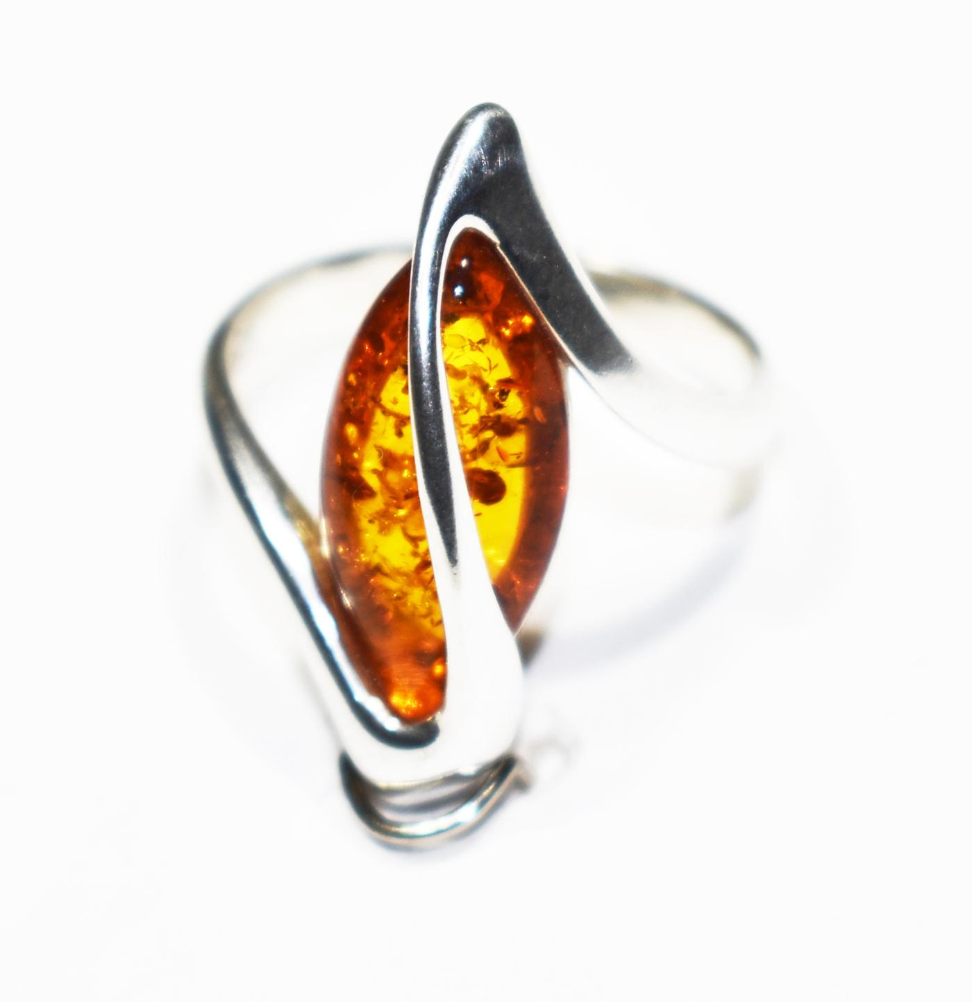Real Baltic amber ring with a silver twist on top 18x8mm