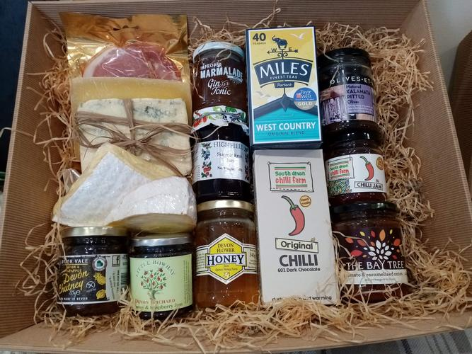 We now have a selection of Prepared Hampers to choose from: The Devon Hamper (Small and Large Sizes), containing only Devon products,  as well as The West Country Hamper, containing products from across the South West.