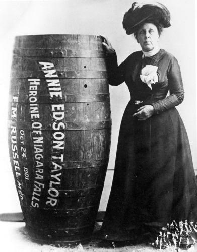 Annie Edson Taylor - American Daredevil The larger than life woman who hurtled over the edge of Niagara falls in a barrel - What else would you do to celebrate your 63rd birthday?