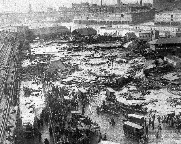 The Great Molasses Flood of 1919 One lunchtime in January 1919, a huge molasses tank did what it had been threatening to do for years, and burst. The result was a terrifying tsunami that swept all before it and killed scores of bystanders