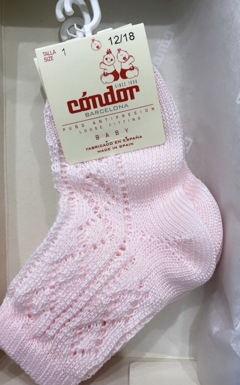 Condor Openwork Extrafine Perle Ankle Socks W/fancy cuff