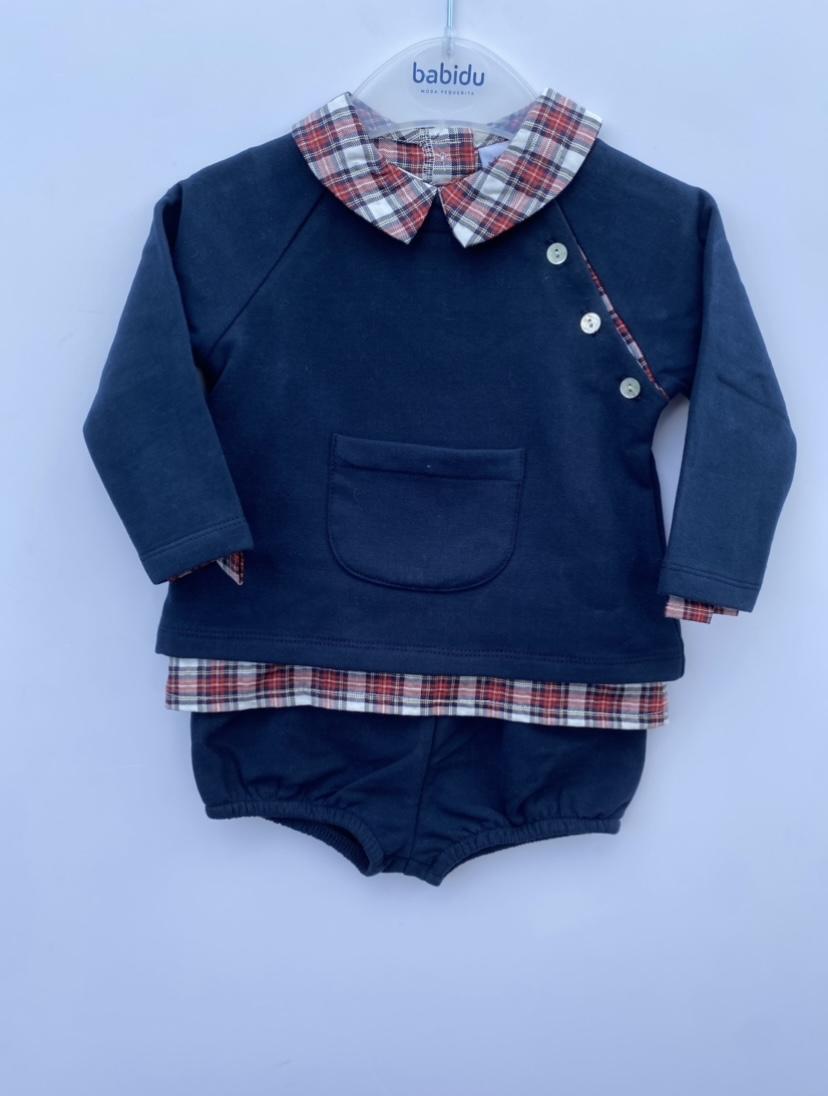 Babidu Tartan Collar Boys Polo & Pants