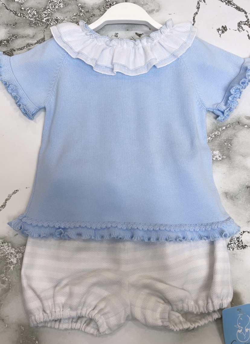 Granlei Stripe Frilly Top & Shorts