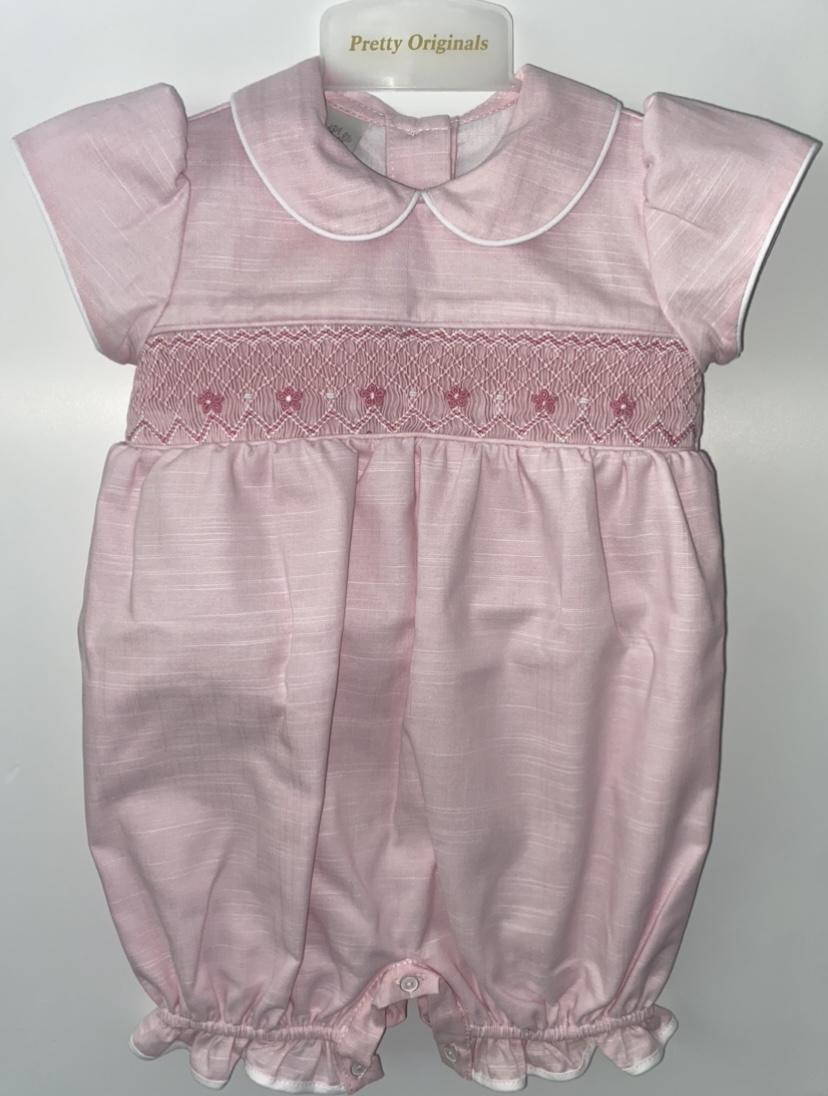 Pretty Originals Pink Smocked Romper