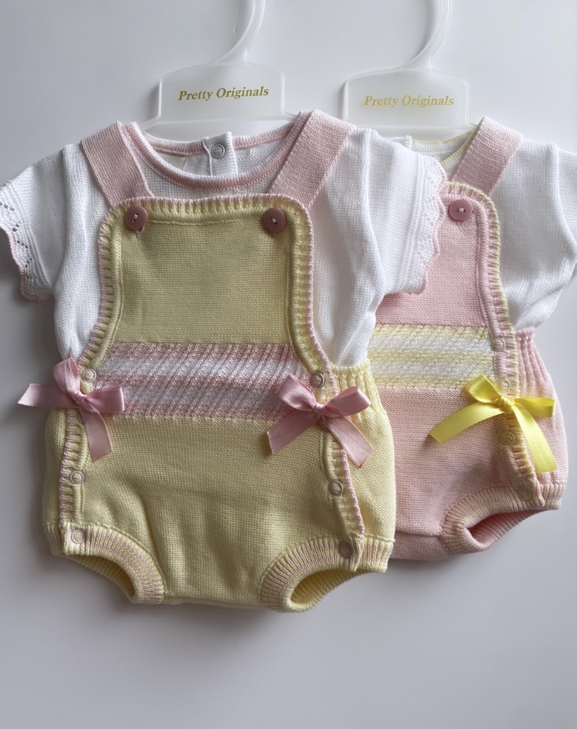 Pretty Originals Knit Rompers / Pink & Yellow