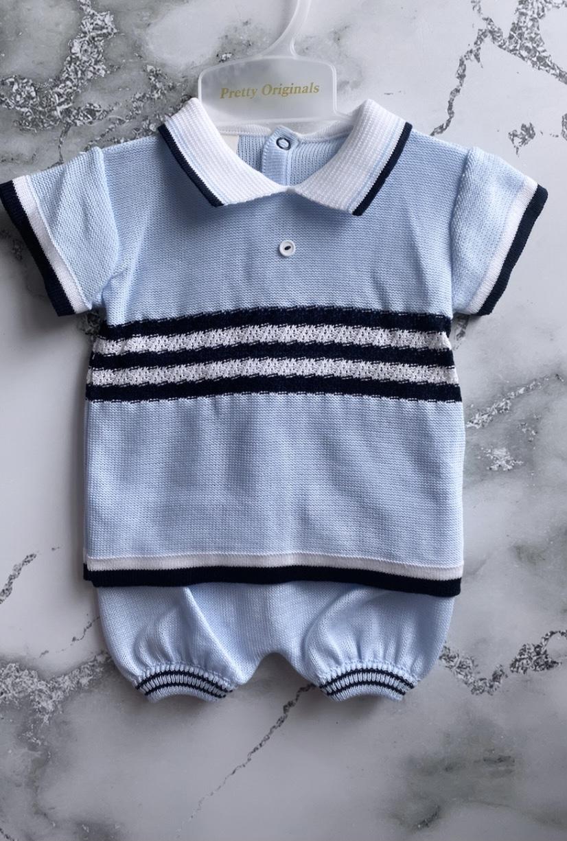 Pretty Originals Knit Set Blue/Navy/White