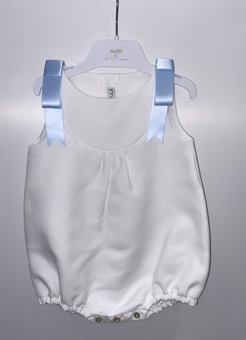 Mebi White Shortie With Blue Shoulder Ribbon