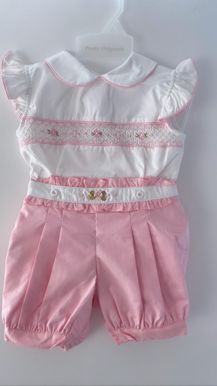 Pretty Originals Smocked Pink Playsuit