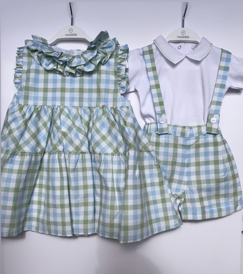 Wedoble SS21 White & Green Check Dungaree Set