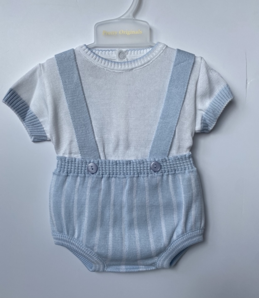 Pretty Originals Blue Dungaree Knit & Matching Knit Cardigan