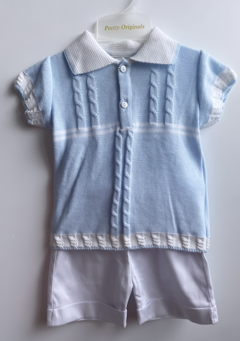 Pretty Originals Polo Knit Top & Smart Shorts