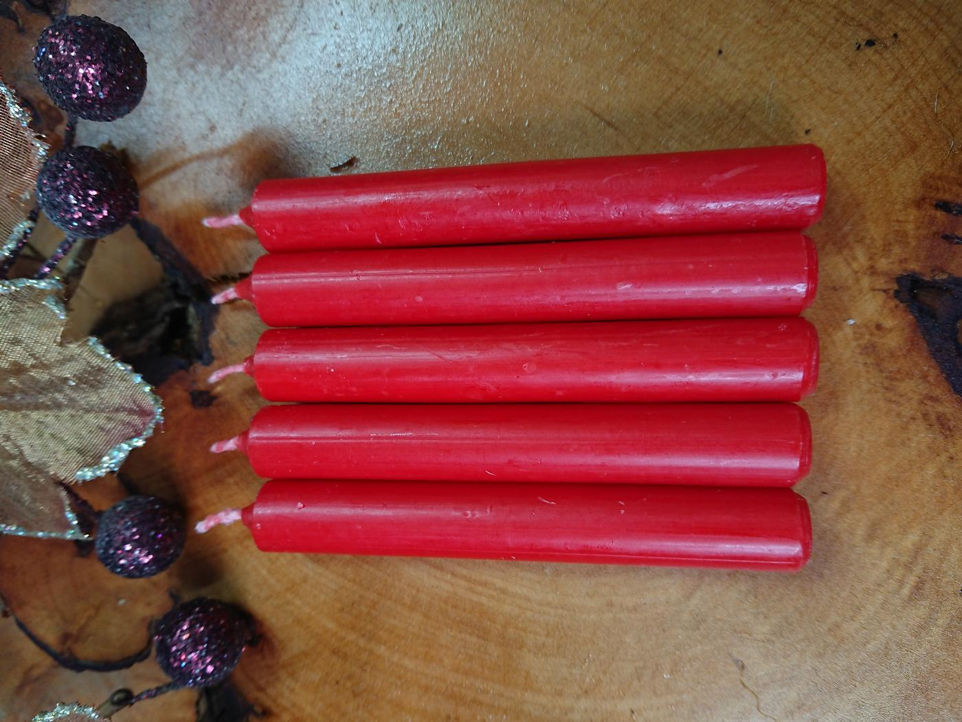Red Witches Spell candles pack of 5
