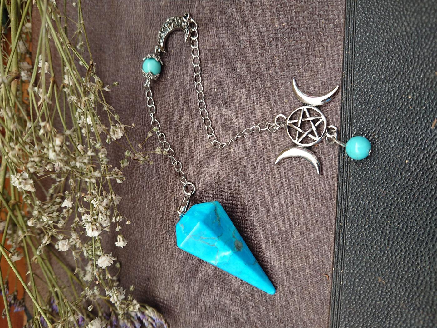 Howlite crystal Triple Moon Pendulum