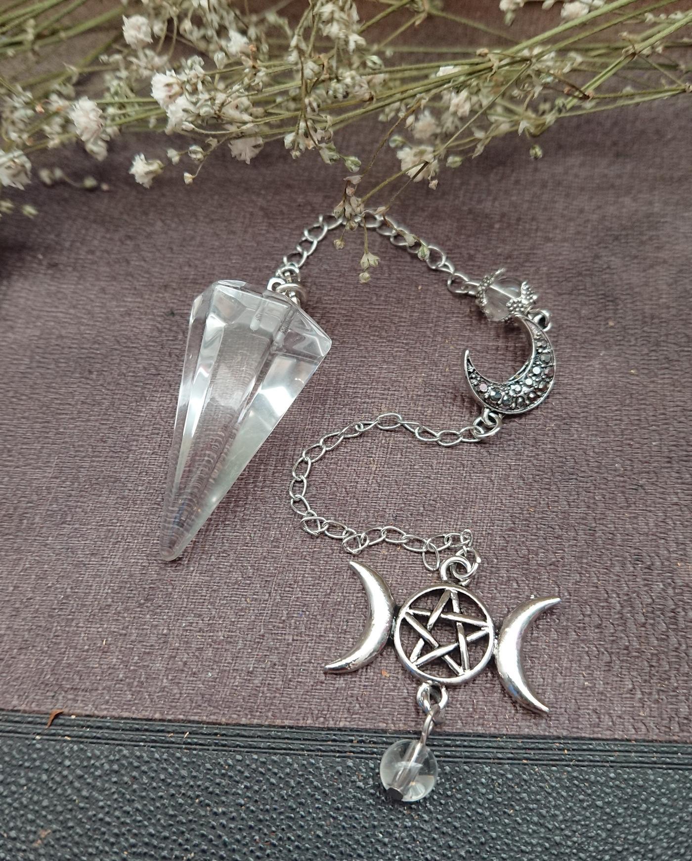 Clear Quartz Triple Moon Pendulum