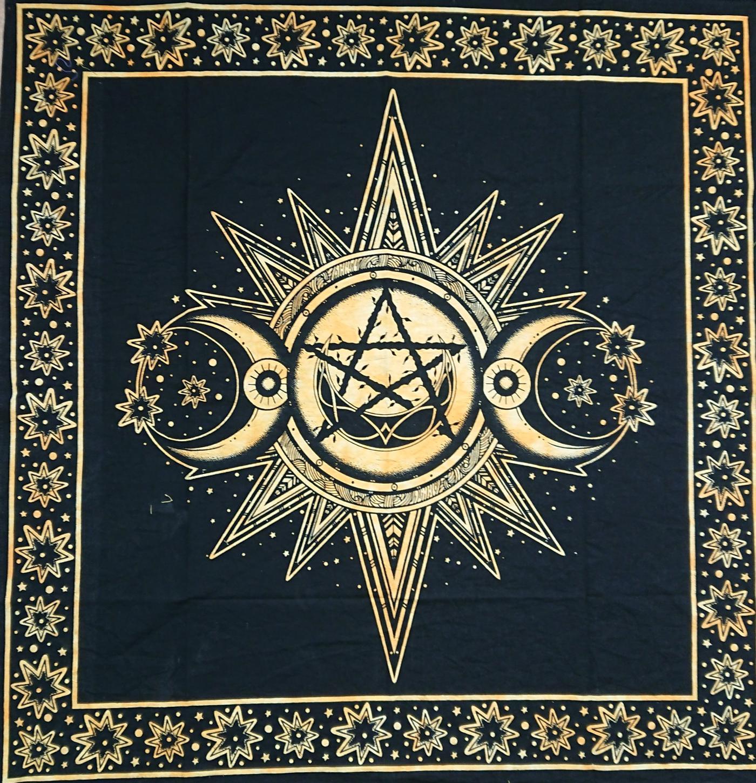 Golden Yellow & Black Triple Moon Altar cloth