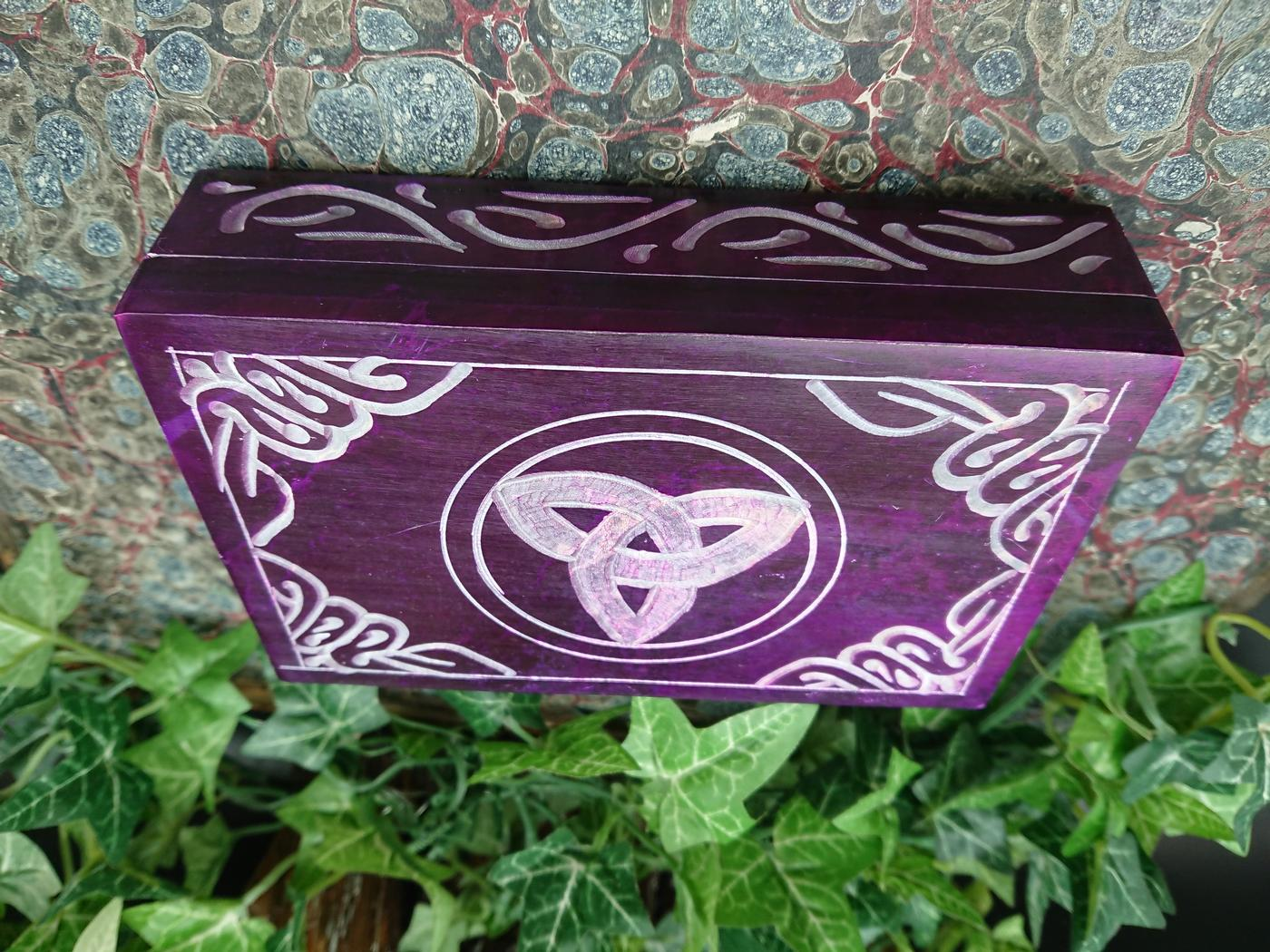 Purple Triquetra Soapstone Box