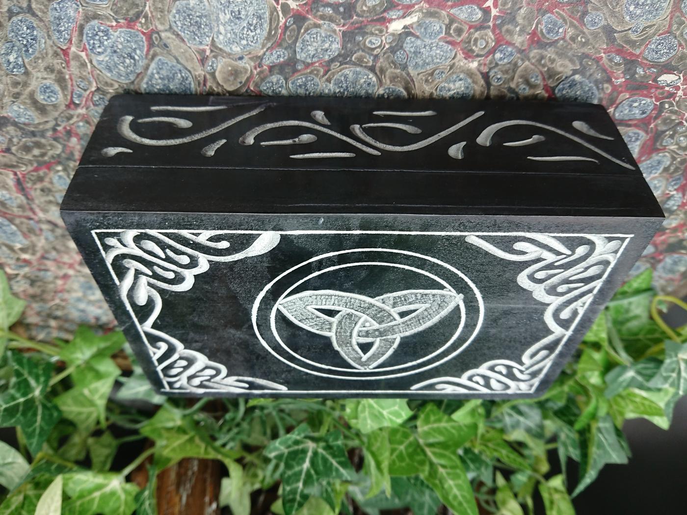 Black Triquetra Soapstone Box